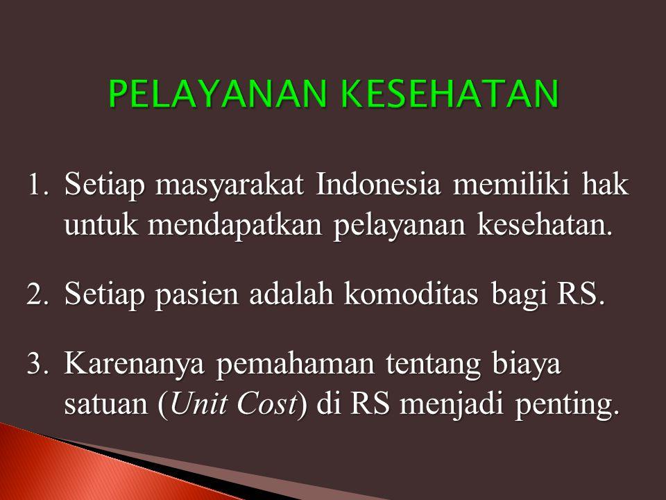 1. Setiap masyarakat Indonesia memiliki hak untuk mendapatkan pelayanan kesehatan. 2. Setiap pasien adalah komoditas bagi RS. 3. Karenanya pemahaman t