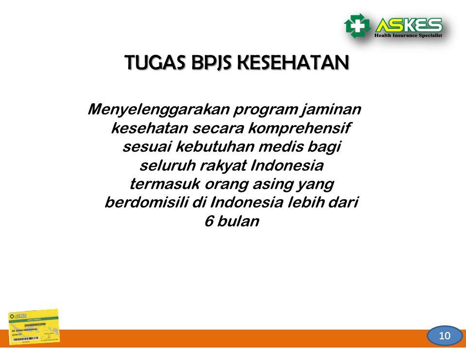 10 TUGAS BPJS KESEHATAN Menyelenggarakan program jaminan kesehatan secara komprehensif sesuai kebutuhan medis bagi seluruh rakyat Indonesia termasuk o