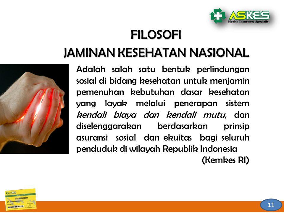 11 FILOSOFI JAMINAN KESEHATAN NASIONAL Adalah salah satu bentuk perlindungan sosial di bidang kesehatan untuk menjamin pemenuhan kebutuhan dasar kesehatan yang layak melalui penerapan sistem kendali biaya dan kendali mutu, dan diselenggarakan berdasarkan prinsip asuransi sosial dan ekuitas bagi seluruh penduduk di wilayah Republik Indonesia (Kemkes RI)
