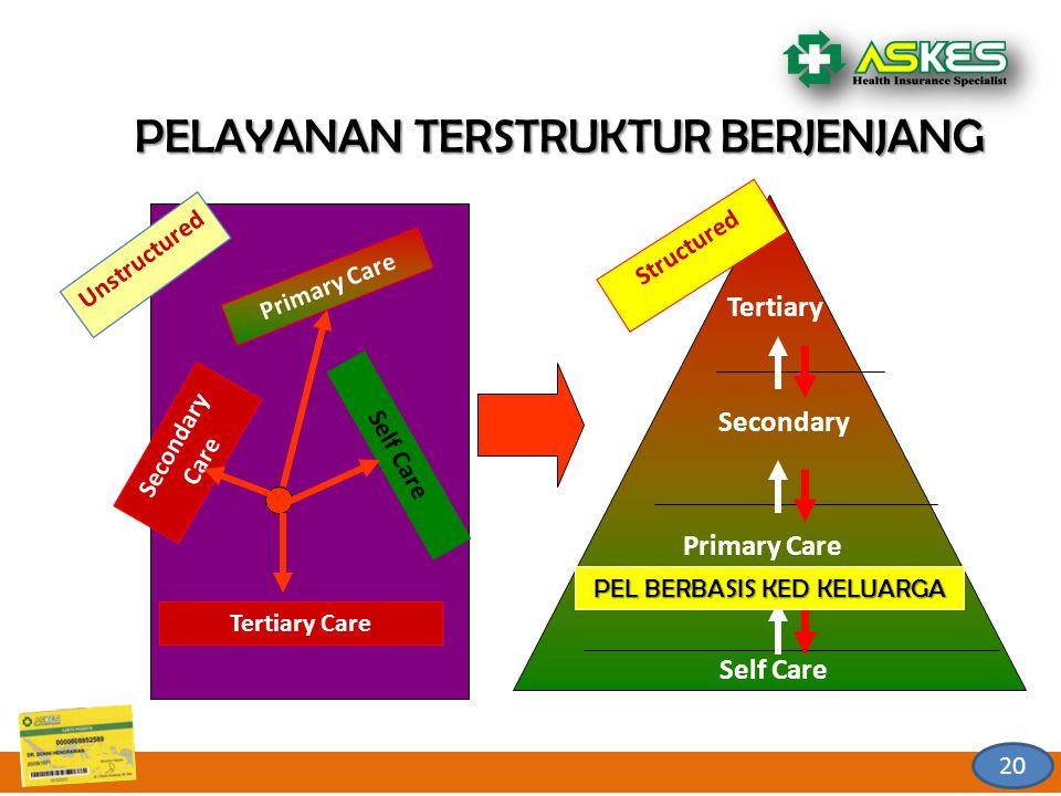 Tertiary Care Secondary Care Primary Care Self Care Unstructured Self Care Primary Care Secondary Tertiary Structured PELAYANAN TERSTRUKTUR BERJENJANG