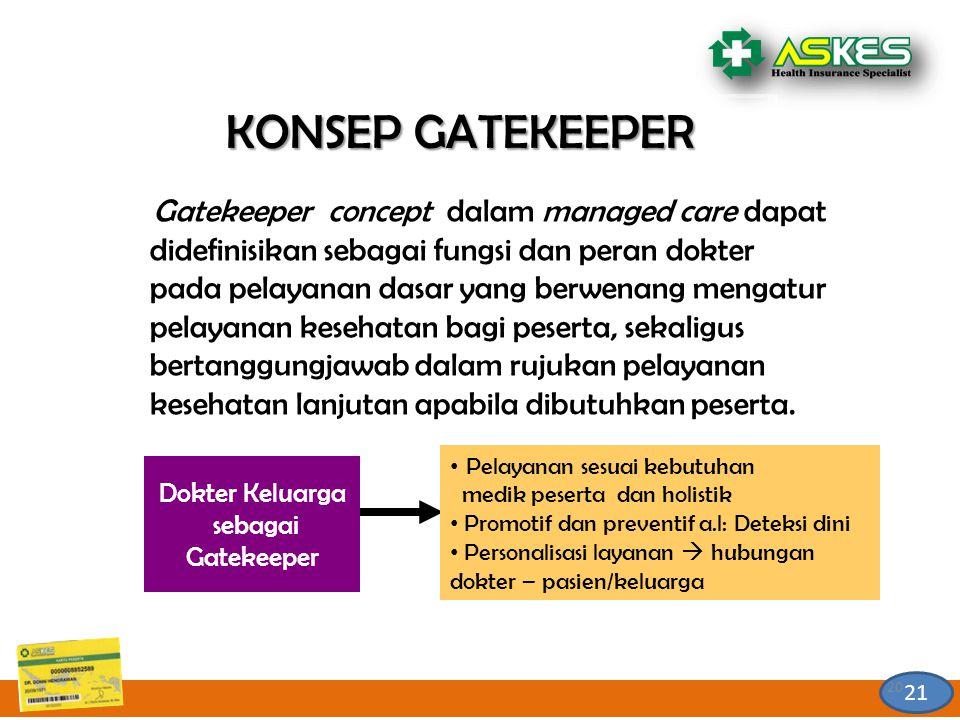 21 KONSEP GATEKEEPER Gatekeeper concept dalam managed care dapat didefinisikan sebagai fungsi dan peran dokter pada pelayanan dasar yang berwenang mengatur pelayanan kesehatan bagi peserta, sekaligus bertanggungjawab dalam rujukan pelayanan kesehatan lanjutan apabila dibutuhkan peserta.