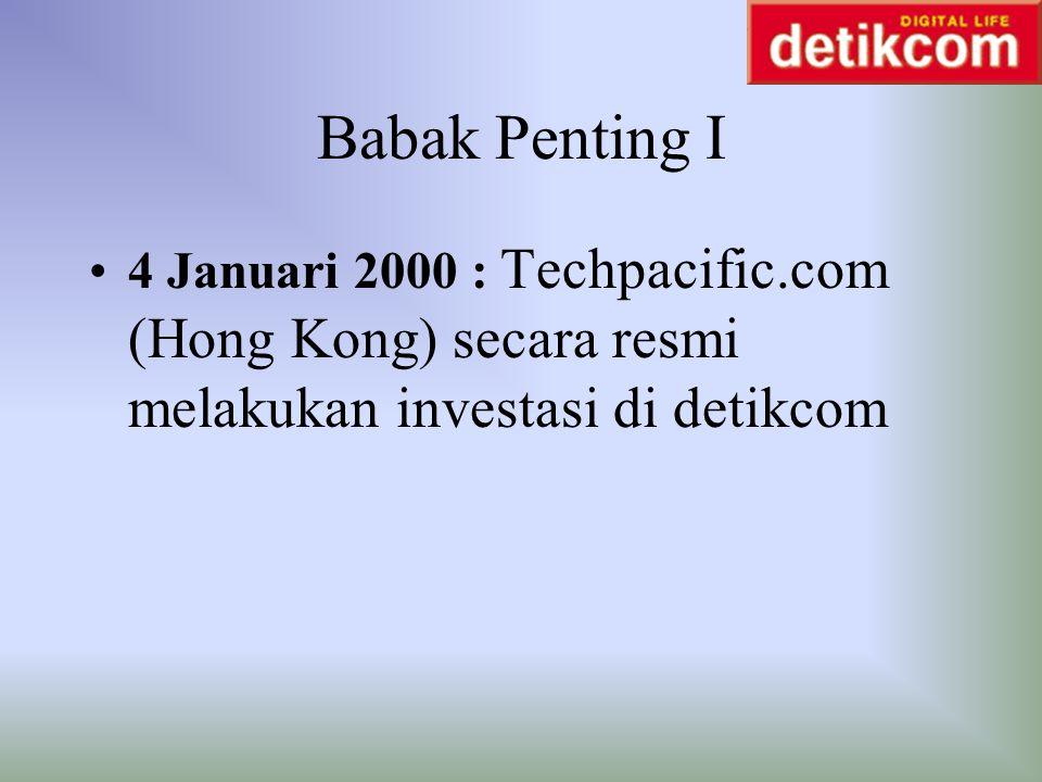 Babak Penting I 4 Januari 2000 : Techpacific.com (Hong Kong) secara resmi melakukan investasi di detikcom