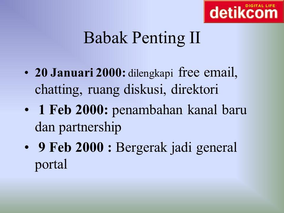 Babak Penting II 20 Januari 2000: dilengkapi free email, chatting, ruang diskusi, direktori 1 Feb 2000: penambahan kanal baru dan partnership 9 Feb 20