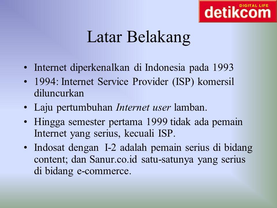 Latar Belakang Internet diperkenalkan di Indonesia pada 1993 1994: Internet Service Provider (ISP) komersil diluncurkan Laju pertumbuhan Internet user
