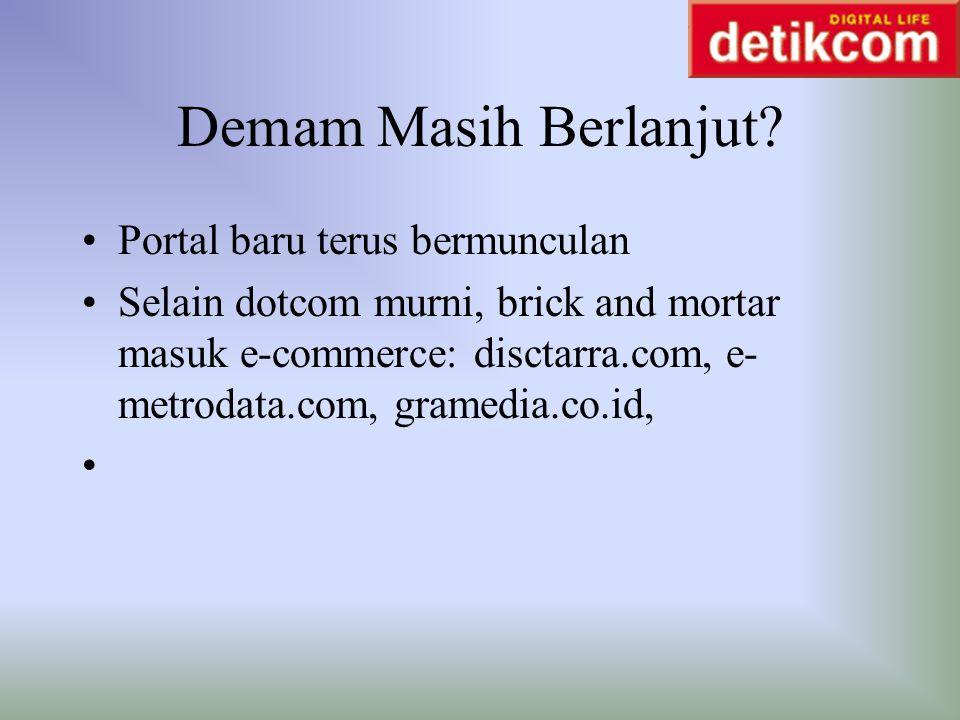 Demam Masih Berlanjut? Portal baru terus bermunculan Selain dotcom murni, brick and mortar masuk e-commerce: disctarra.com, e- metrodata.com, gramedia