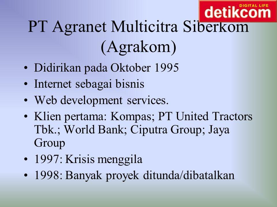 PT Agranet Multicitra Siberkom (Agrakom) Didirikan pada Oktober 1995 Internet sebagai bisnis Web development services. Klien pertama: Kompas; PT Unite
