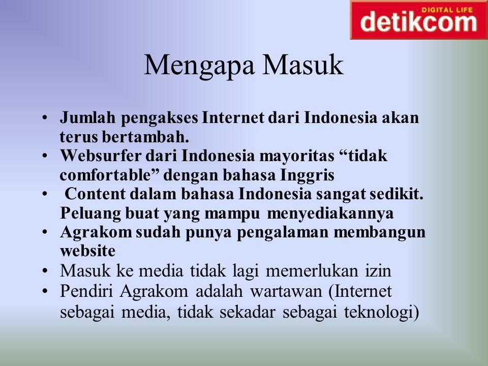 """Mengapa Masuk Jumlah pengakses Internet dari Indonesia akan terus bertambah. Websurfer dari Indonesia mayoritas """"tidak comfortable"""" dengan bahasa Ingg"""