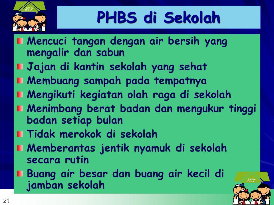 PENGERTIAN PHBS di Sekolah adalah sekumpulan perilaku yang dipraktekkan oleh peserta didik, guru, dan masyarakat lingkungan sekolah atas dasar kesadar