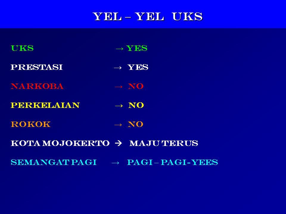 YEL – YEL UKS YEL – YEL UKS UKS → YES PRESTASI → YES NARKOBA → NO PERKELAIAN → NO ROKOK → NO KOTA MOJOKERTO  Maju Terus SEMANGAT PAGI → PAGI – PAGI-YEES