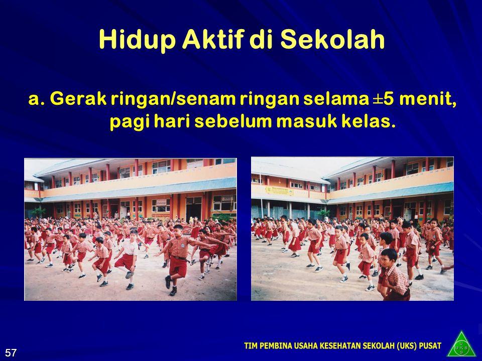Upaya Peningkatan Kebugaran Jasmani Melaksanakan pendidikan jasmani dengan baik Membiasakan Hidup Aktif di sekolah maupun di rumah 56