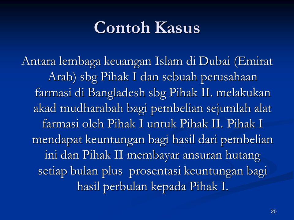 20 Contoh Kasus Antara lembaga keuangan Islam di Dubai (Emirat Arab) sbg Pihak I dan sebuah perusahaan farmasi di Bangladesh sbg Pihak II.