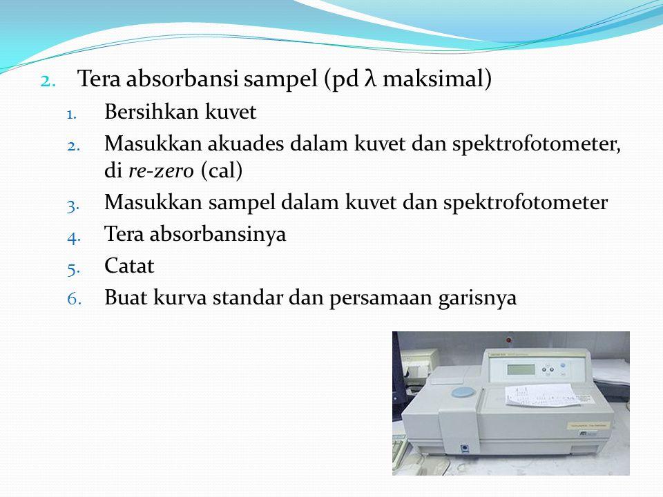 2. Tera absorbansi sampel (pd λ maksimal) 1. Bersihkan kuvet 2. Masukkan akuades dalam kuvet dan spektrofotometer, di re-zero (cal) 3. Masukkan sampel