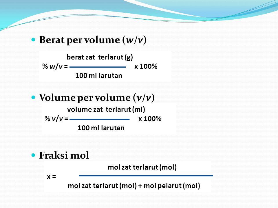 Berat per volume (w/v) Volume per volume (v/v) Fraksi mol mol zat terlarut (mol) x = mol zat terlarut (mol) + mol pelarut (mol) berat zat terlarut (g)