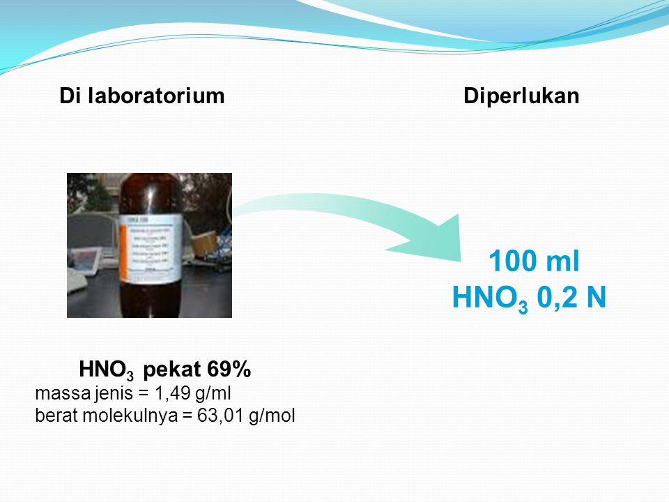 Normalitas (N) HNO 3 V1 x N1 = V2 x N2 1,49 g/ml x (1000 ml/100) x 69 N = 63,01 g/mol N = 16,32 N 0,2 N x 100 ml V1 = 16,32 N = 1,22 ml Dilarutkan hingga 100 ml (labu ukur)