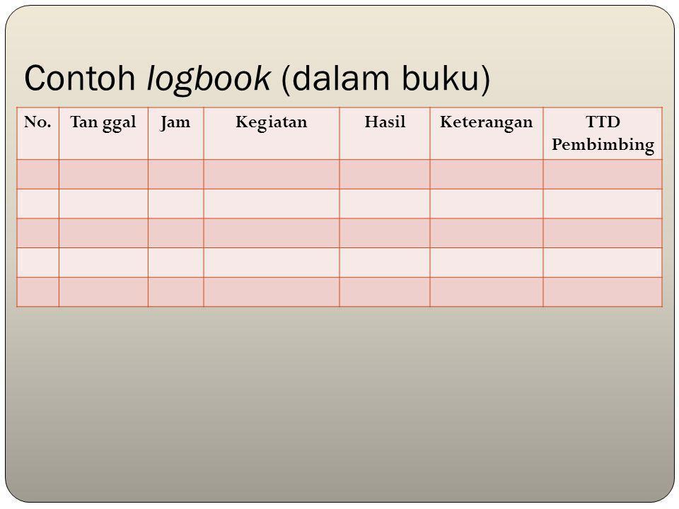 Contoh logbook (dalam buku) No.Tan ggalJamKegiatanHasilKeteranganTTD Pembimbing