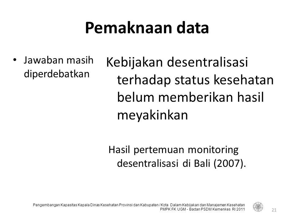 Pengembangan Kapasitas Kepala Dinas Kesehatan Provinsi dan Kabupaten / Kota Dalam Kebijakan dan Manajemen Kesehatan PMPK FK UGM - Badan PSDM Kemenkes RI 2011 Pemaknaan data Jawaban masih diperdebatkan Kebijakan desentralisasi terhadap status kesehatan belum memberikan hasil meyakinkan Hasil pertemuan monitoring desentralisasi di Bali (2007).