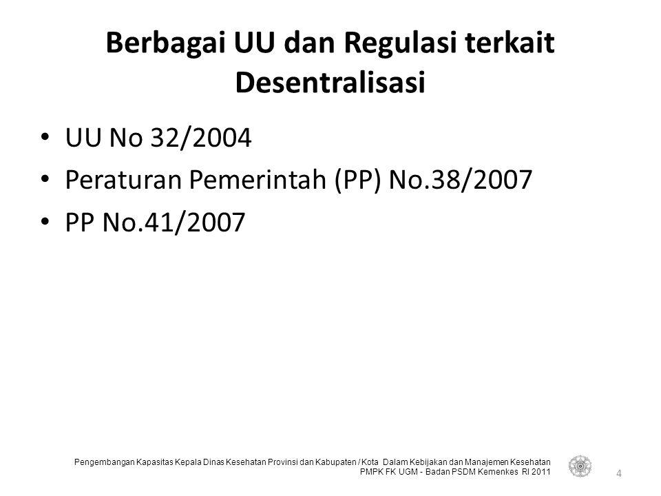 Pengembangan Kapasitas Kepala Dinas Kesehatan Provinsi dan Kabupaten / Kota Dalam Kebijakan dan Manajemen Kesehatan PMPK FK UGM - Badan PSDM Kemenkes RI 2011 Berbagai UU dan Regulasi terkait Desentralisasi UU No 32/2004 Peraturan Pemerintah (PP) No.38/2007 PP No.41/2007 4