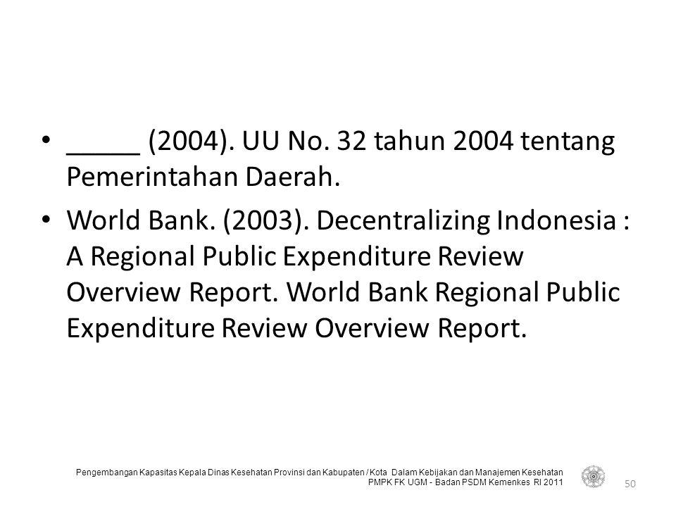 Pengembangan Kapasitas Kepala Dinas Kesehatan Provinsi dan Kabupaten / Kota Dalam Kebijakan dan Manajemen Kesehatan PMPK FK UGM - Badan PSDM Kemenkes RI 2011 _____ (2004).