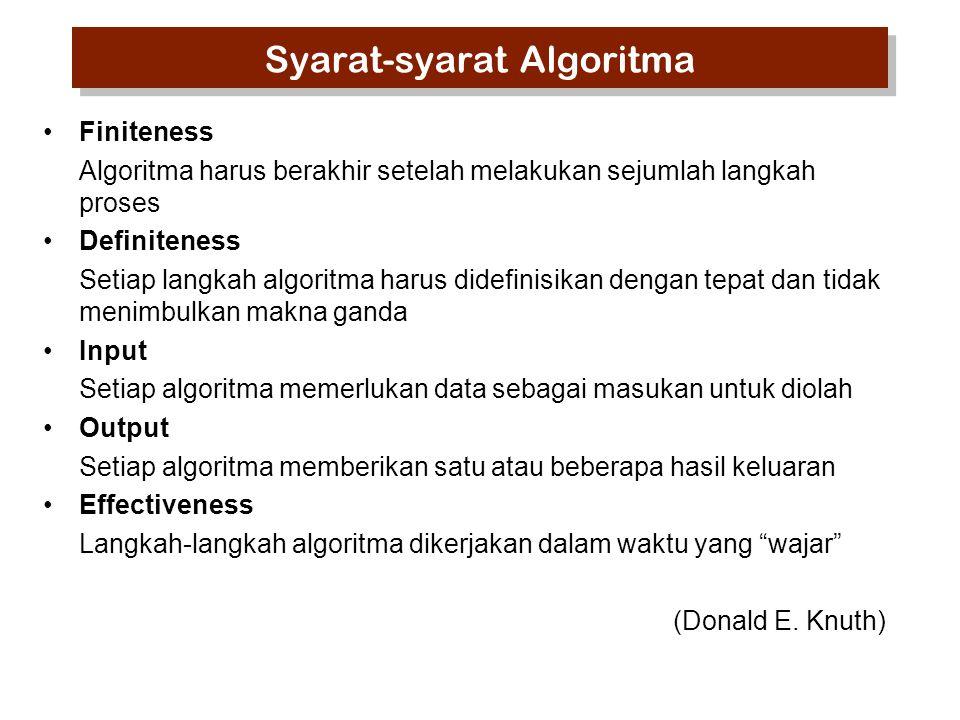 Syarat-syarat Algoritma Finiteness Algoritma harus berakhir setelah melakukan sejumlah langkah proses Definiteness Setiap langkah algoritma harus dide