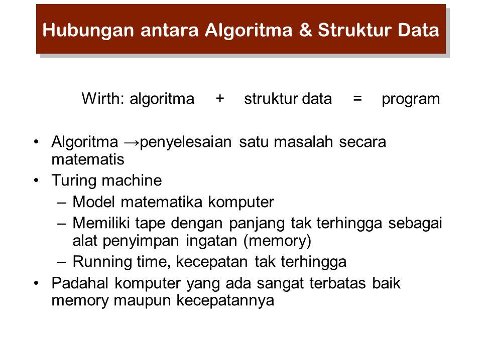 Wirth:algoritma + struktur data = program Algoritma →penyelesaian satu masalah secara matematis Turing machine –Model matematika komputer –Memiliki tape dengan panjang tak terhingga sebagai alat penyimpan ingatan (memory) –Running time, kecepatan tak terhingga Padahal komputer yang ada sangat terbatas baik memory maupun kecepatannya Hubungan antara Algoritma & Struktur Data