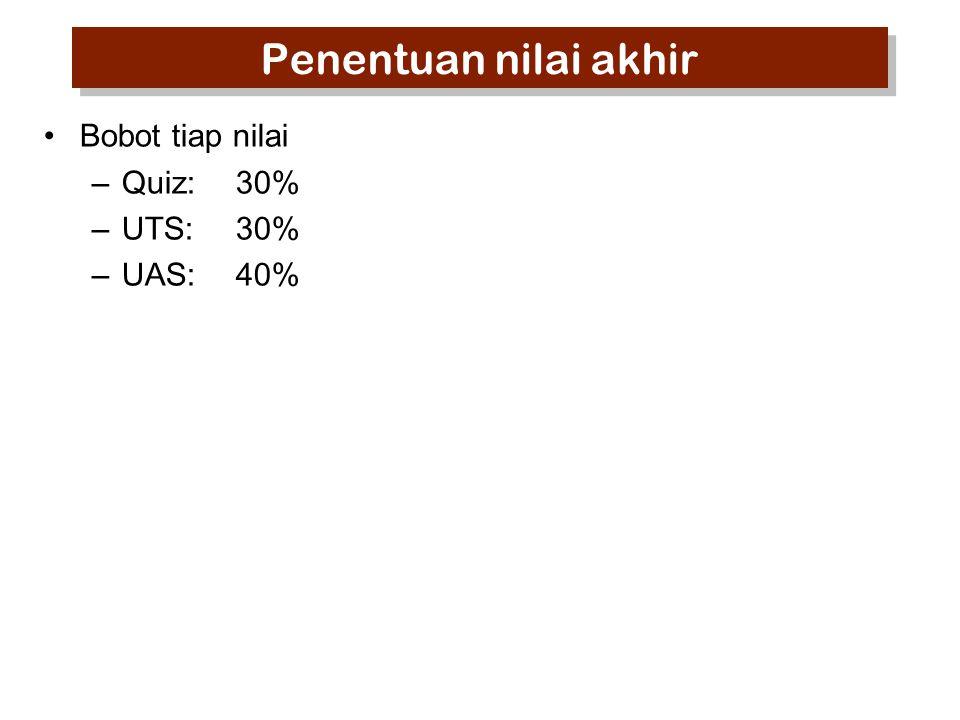 Penentuan nilai akhir Bobot tiap nilai –Quiz:30% –UTS:30% –UAS:40%