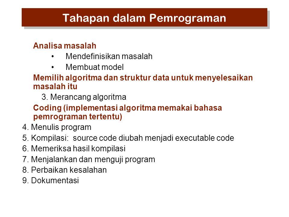 Analisa masalah Mendefinisikan masalah Membuat model Memilih algoritma dan struktur data untuk menyelesaikan masalah itu 3. Merancang algoritma Coding
