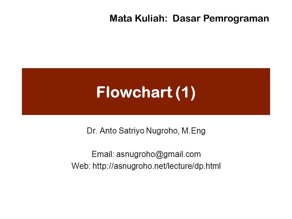 Flowchart (1) Dr. Anto Satriyo Nugroho, M.Eng Email: asnugroho@gmail.com Web: http://asnugroho.net/lecture/dp.html Mata Kuliah: Dasar Pemrograman