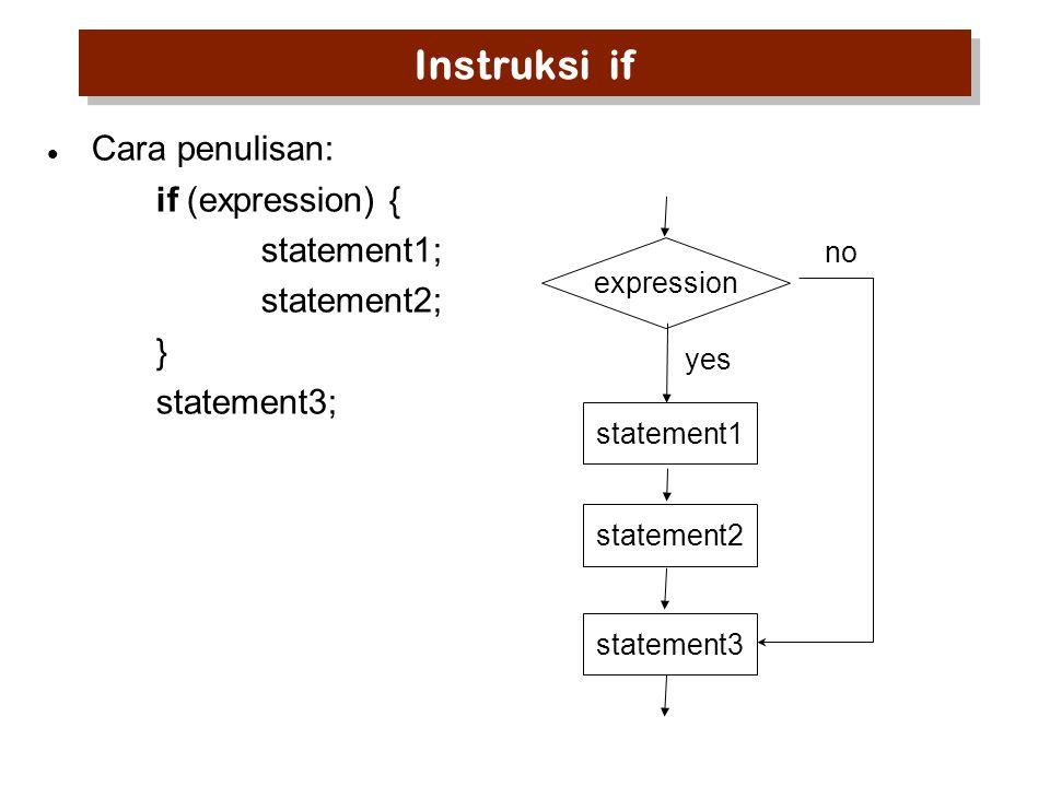if-else Cara penulisan: if (expression) statement1; else statement2; expression statement1statement2 yes no
