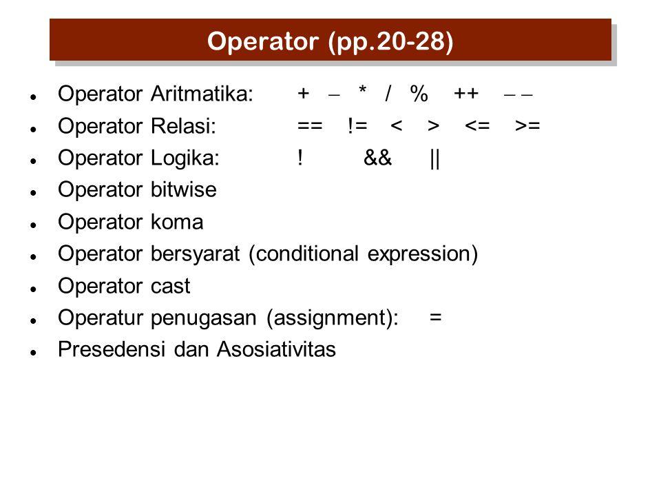 Operator (pp.20-28) Operator Aritmatika:+  * / % ++  Operator Relasi:== != = Operator Logika:!&&|| Operator bitwise Operator koma Operator bersyar