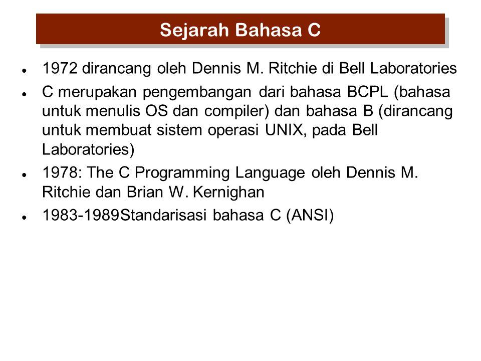 Sejarah Bahasa C 1972 dirancang oleh Dennis M. Ritchie di Bell Laboratories C merupakan pengembangan dari bahasa BCPL (bahasa untuk menulis OS dan com