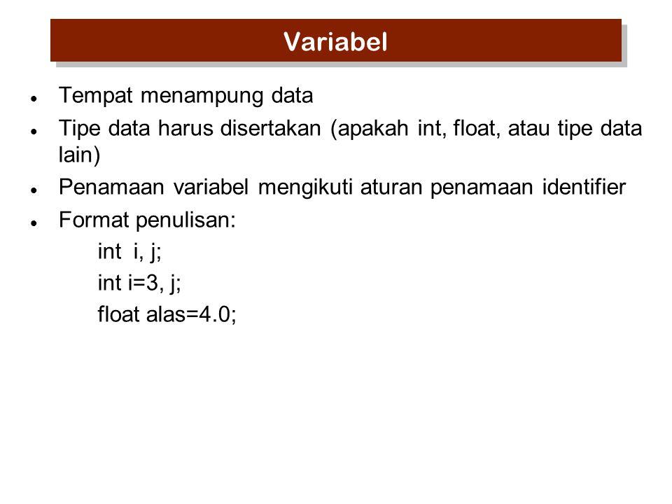Variabel Tempat menampung data Tipe data harus disertakan (apakah int, float, atau tipe data lain) Penamaan variabel mengikuti aturan penamaan identif