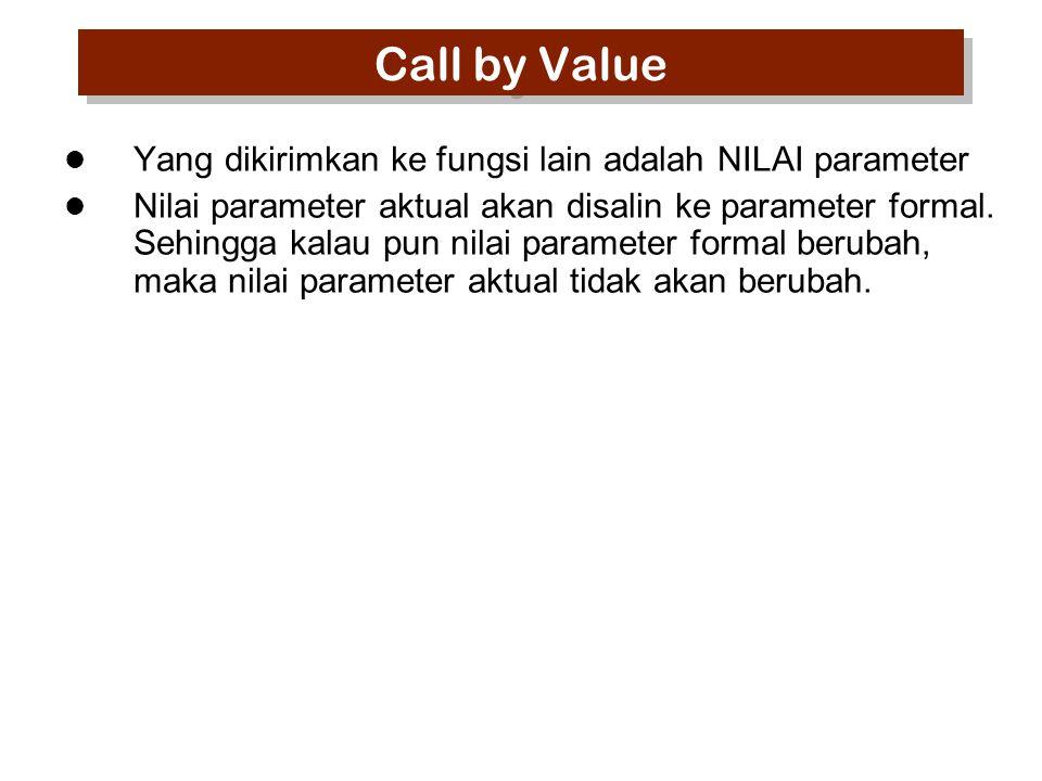 Call by Value Yang dikirimkan ke fungsi lain adalah NILAI parameter Nilai parameter aktual akan disalin ke parameter formal.