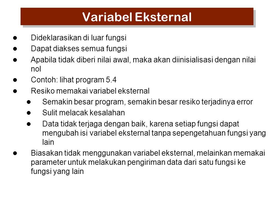 Contoh 2 (program 5.4) #include int gNilai=98; void inkremen(void) { gNilai= gNilai*1.05; } main() { printf( Nilai awal : %d\n ,gNilai); gNilai = gNilai +2; printf( Nilai sekarang: %d\n ,gNilai); inkremen(); printf( Nilai sekarang: %d\n ,gNilai); } gNilai adalah variabel eksternal