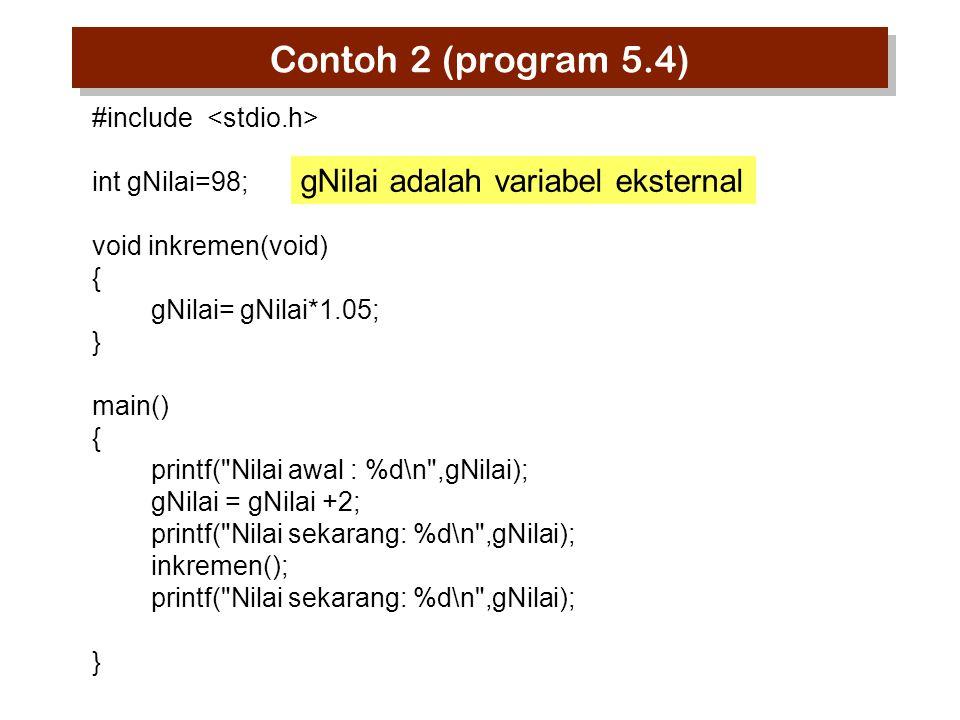 Contoh 5-B SWAP (cara yang benar) #include void dataswap(int *n1,int *n2) { int dummy; dummy=*n1; *n1=*n2; *n2=dummy; } main() { int bil1, bil2; printf( Bilangan ke-1: );scanf( %d ,&bil1); printf( Bilangan ke-2: );scanf( %d ,&bil2); dataswap(&bil1,&bil2); printf( bil1= %d bil2=%d\n ,bil1,bil2); } MENGAPA TIDAK BERHASIL ?