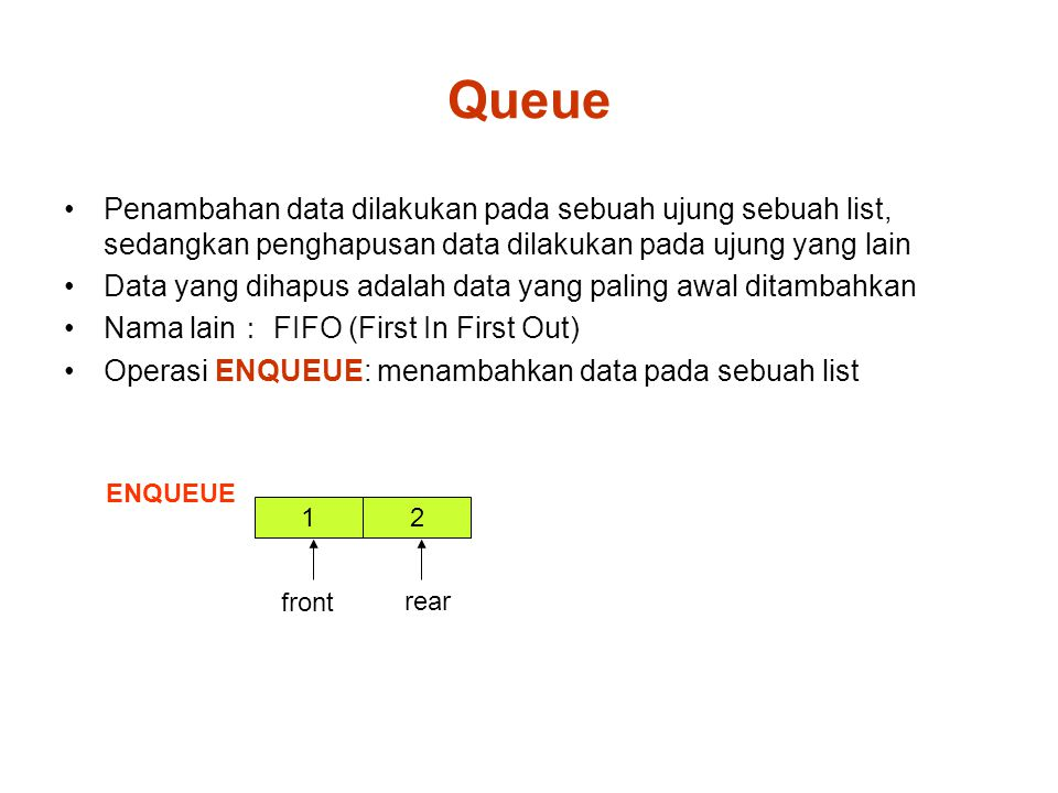 Queue Penambahan data dilakukan pada sebuah ujung sebuah list, sedangkan penghapusan data dilakukan pada ujung yang lain Data yang dihapus adalah data yang paling awal ditambahkan Nama lain : FIFO (First In First Out) Operasi ENQUEUE: menambahkan data pada sebuah list 1 ENQUEUE front 2 rear