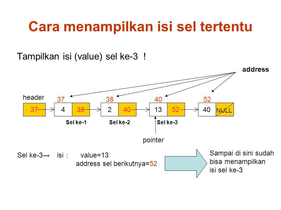Cara menampilkan isi sel tertentu header pointer Sel ke-3→ isi : value=13 address sel berikutnya=52 37 384402 5213 37 38 40 52 NULL Sel ke-1 Sel ke-2 Sel ke-3 Tampilkan isi (value) sel ke-3 .