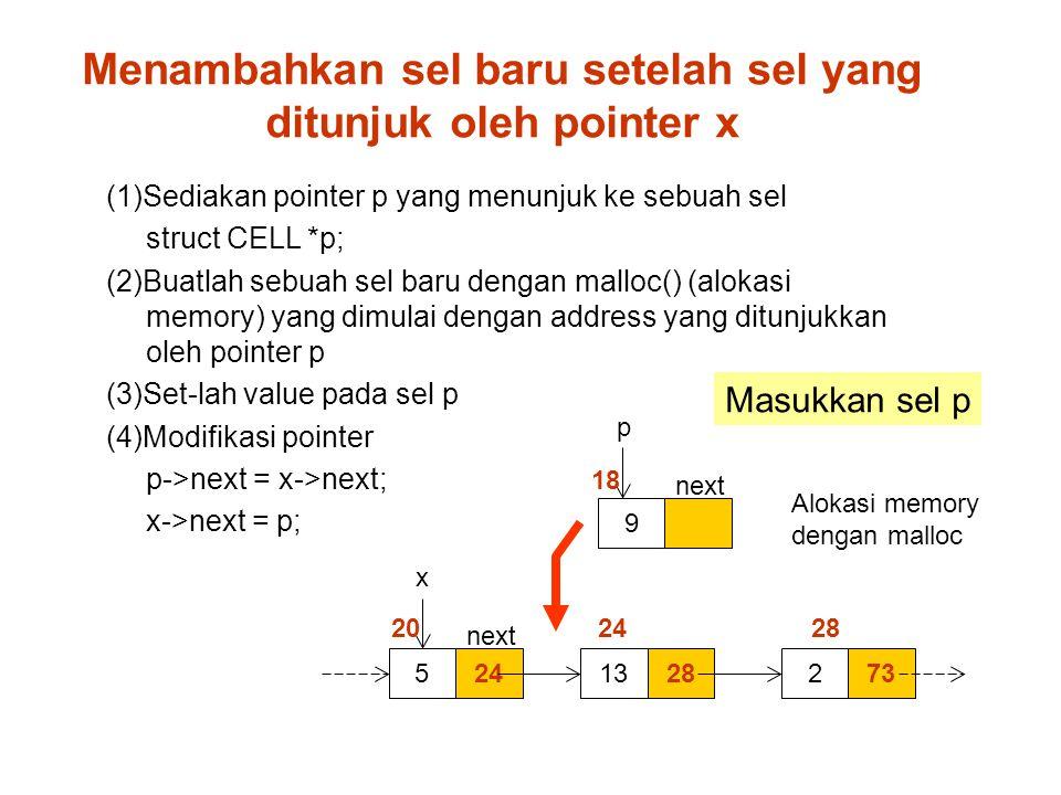 Menambahkan sel baru setelah sel yang ditunjuk oleh pointer x 245 9 p x 2813732 20 24 28 18 (1)Sediakan pointer p yang menunjuk ke sebuah sel struct CELL *p; (2)Buatlah sebuah sel baru dengan malloc() (alokasi memory) yang dimulai dengan address yang ditunjukkan oleh pointer p (3)Set-lah value pada sel p (4)Modifikasi pointer p->next = x->next; x->next = p; next Masukkan sel p Alokasi memory dengan malloc