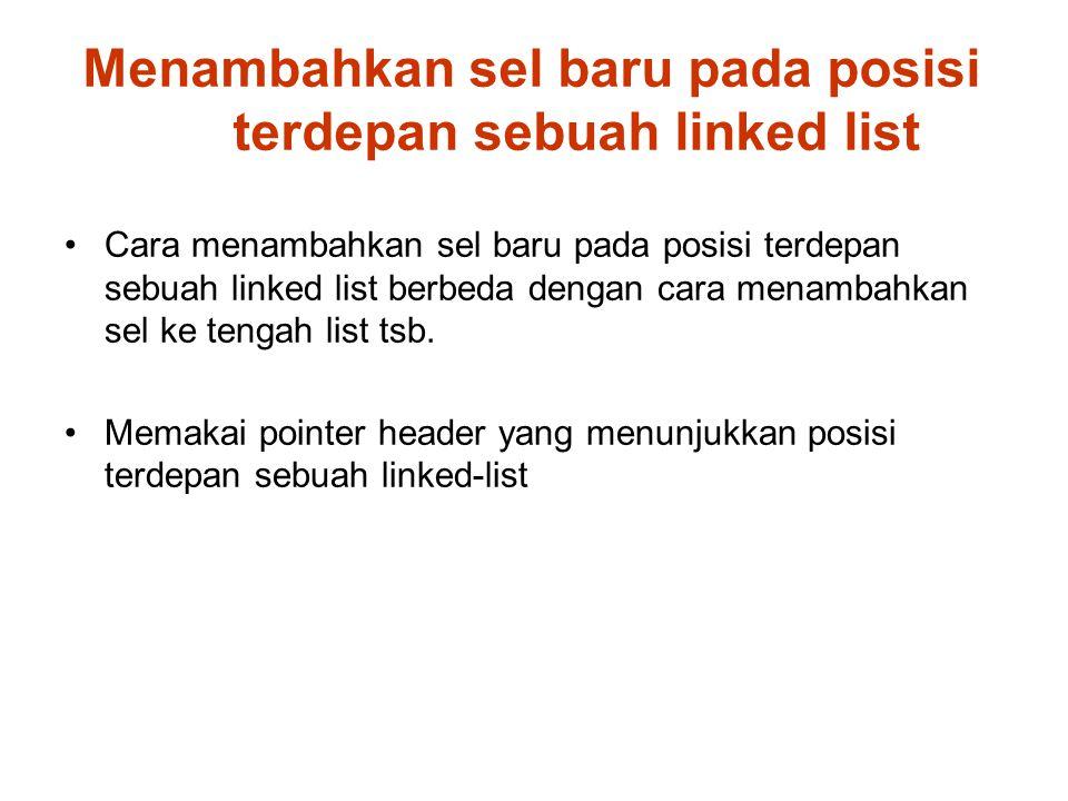 Menambahkan sel baru pada posisi terdepan sebuah linked list Cara menambahkan sel baru pada posisi terdepan sebuah linked list berbeda dengan cara menambahkan sel ke tengah list tsb.