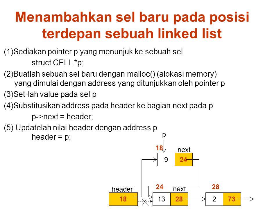 Menambahkan sel baru pada posisi terdepan sebuah linked list (1)Sediakan pointer p yang menunjuk ke sebuah sel struct CELL *p; (2)Buatlah sebuah sel baru dengan malloc() (alokasi memory) yang dimulai dengan address yang ditunjukkan oleh pointer p (3)Set-lah value pada sel p (4)Substitusikan address pada header ke bagian next pada p p->next = header; (5) Updatelah nilai header dengan address p header = p; 182813732 24 28 p 249 18 next header next