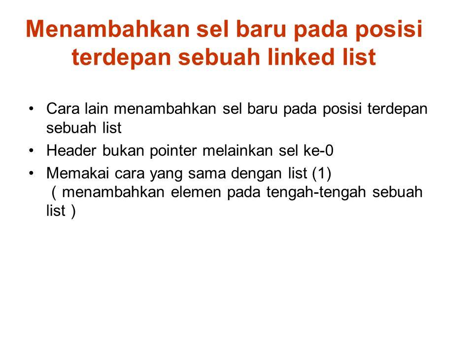Cara lain menambahkan sel baru pada posisi terdepan sebuah list Header bukan pointer melainkan sel ke-0 Memakai cara yang sama dengan list (1) ( menambahkan elemen pada tengah-tengah sebuah list ) Menambahkan sel baru pada posisi terdepan sebuah linked list