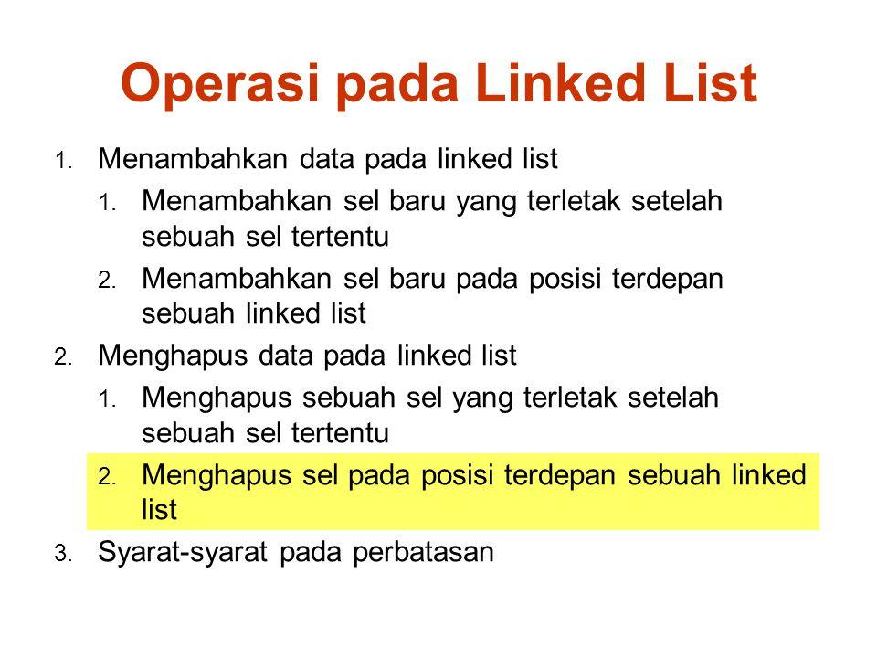 Operasi pada Linked List 1.Menambahkan data pada linked list 1.