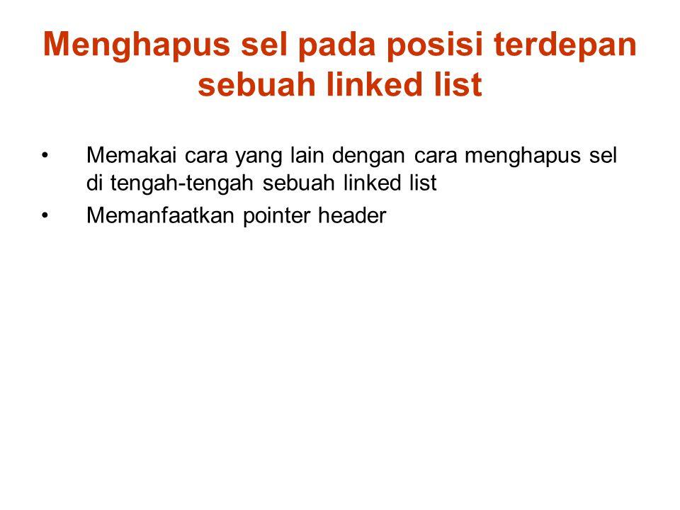 Menghapus sel pada posisi terdepan sebuah linked list Memakai cara yang lain dengan cara menghapus sel di tengah-tengah sebuah linked list Memanfaatkan pointer header