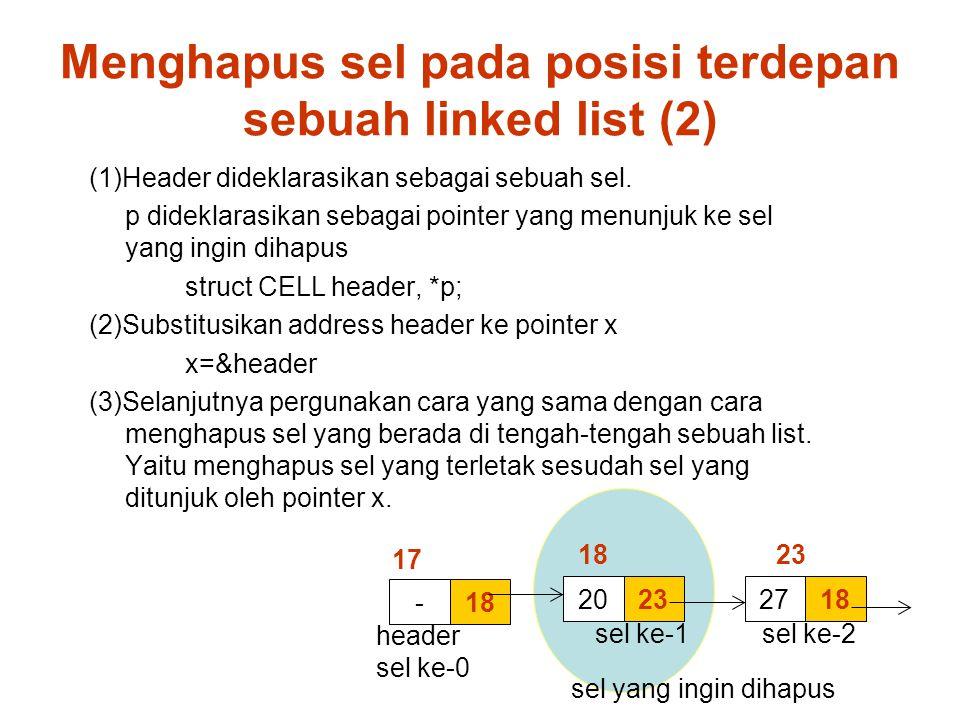 Menghapus sel pada posisi terdepan sebuah linked list (2) 18- 23201827 (1)Header dideklarasikan sebagai sebuah sel.