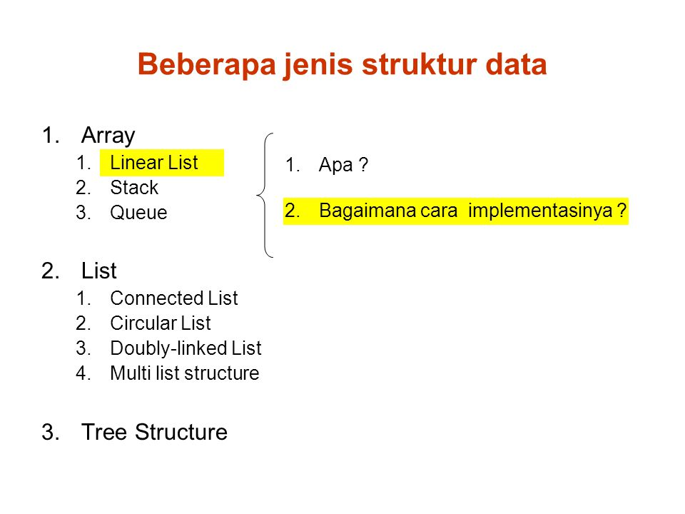 Implementasi Linear List List size (banyaknya elemen) : n Memasukkan (menyisipkan) data baru sebelum data no.k 101214161820222426 31 ① Mencari posisi dimana data harus dimasukkan 1 2 3 4 … k-1 k k+1 k+2 n … …