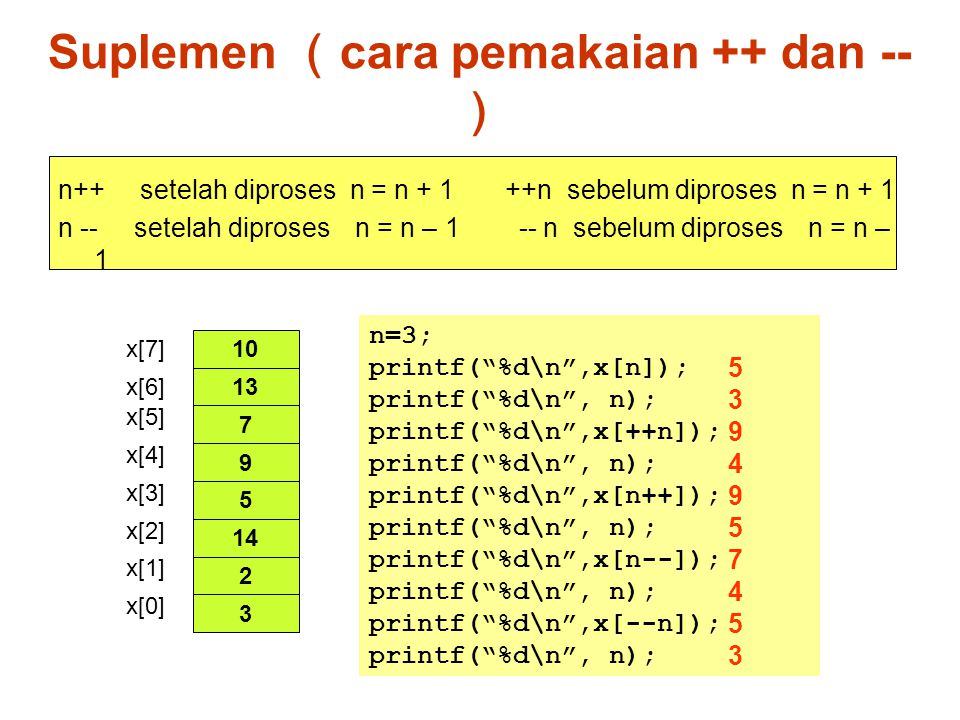 Array dibuat seperti cincin, dimana elemen terakhir disambungkan dengan elemen pertama Menambahkan data ke queue: nilai rear dinaikkan satu Menghapus data dari queue: nilai front dinaikkan satu Queue kosong pada saat front==rear Cara 1 Queue adalah pada bagian yang berwarna hijau 0 1 n-1 n-2 rear front