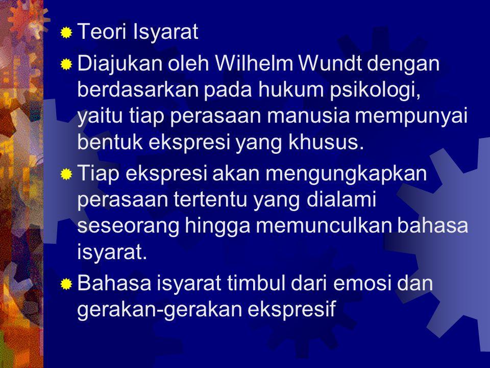  Teori Isyarat  Diajukan oleh Wilhelm Wundt dengan berdasarkan pada hukum psikologi, yaitu tiap perasaan manusia mempunyai bentuk ekspresi yang khus