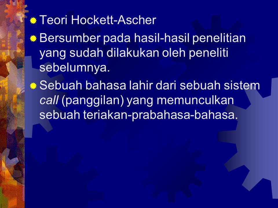  Teori Hockett-Ascher  Bersumber pada hasil-hasil penelitian yang sudah dilakukan oleh peneliti sebelumnya.  Sebuah bahasa lahir dari sebuah sistem