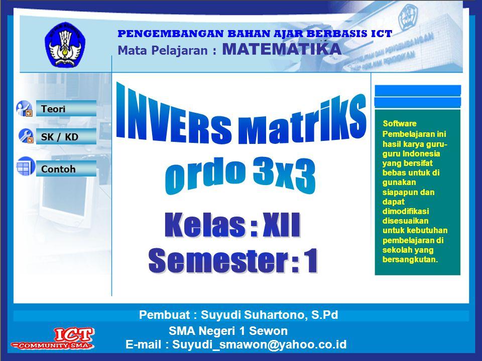 Keluar Simulasi Invers matriks ordo 3x3 Simulasi Contoh Latihan Uji Kompetensi A = =Det A = A = 1 Isikan elemen matriks yang anda inginkan