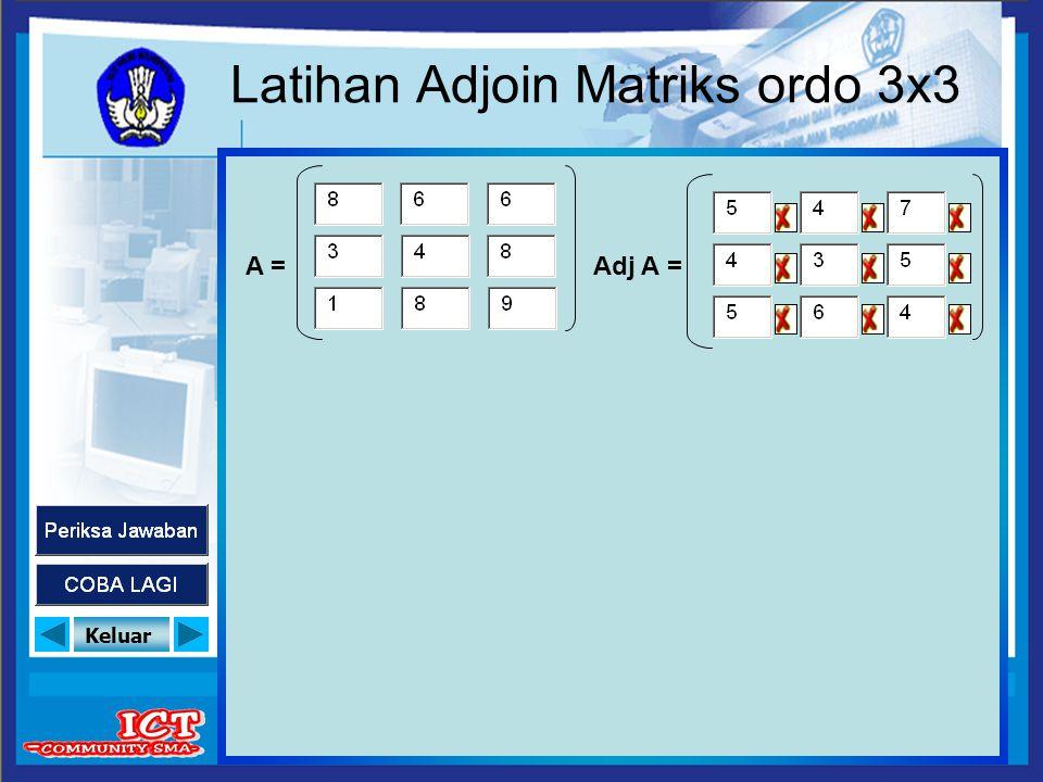 Keluar Latihan Adjoin Matriks ordo 3x3 A =Adj A =