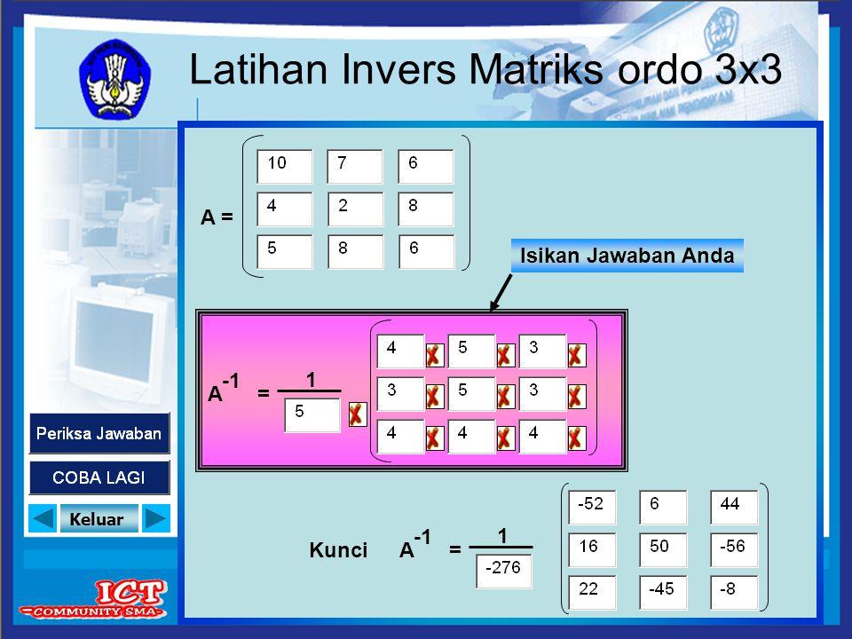 Keluar Latihan Invers Matriks ordo 3x3 A = 1 A = 1 Kunci Isikan Jawaban Anda